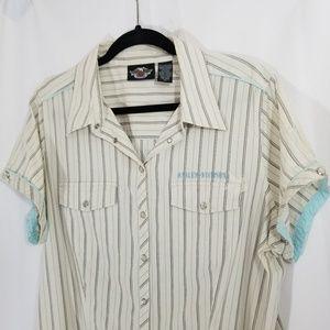 Harley-Davidson Pearl Snap Collared Shirt Top